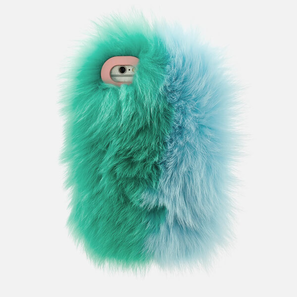Charlotte Simone Women's Phone Fluff iPhone Case - Mint Green/Pastel Blue