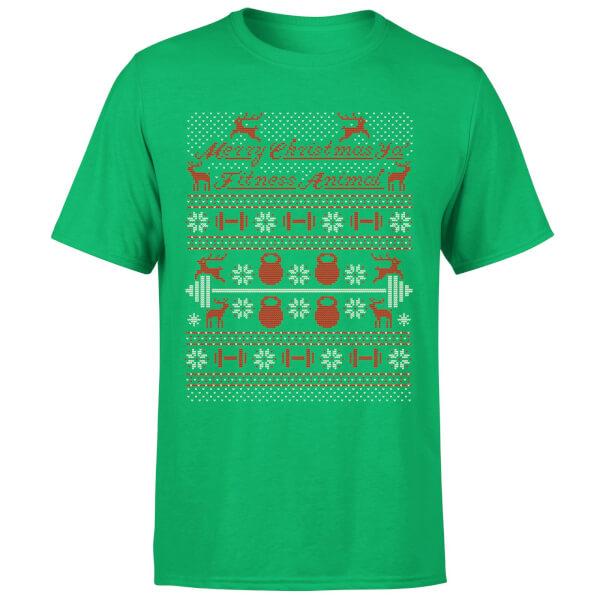 Merry Christmas Ya' Fitness Animal T-Shirt - Kelly Green