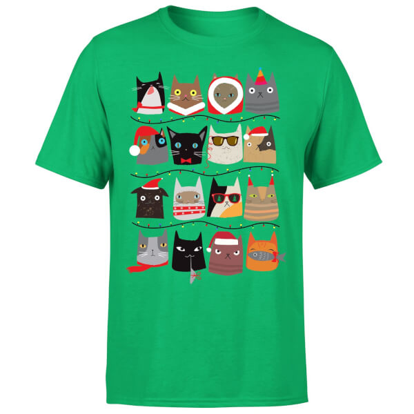 Christmas Cats T-Shirt - Kelly Green