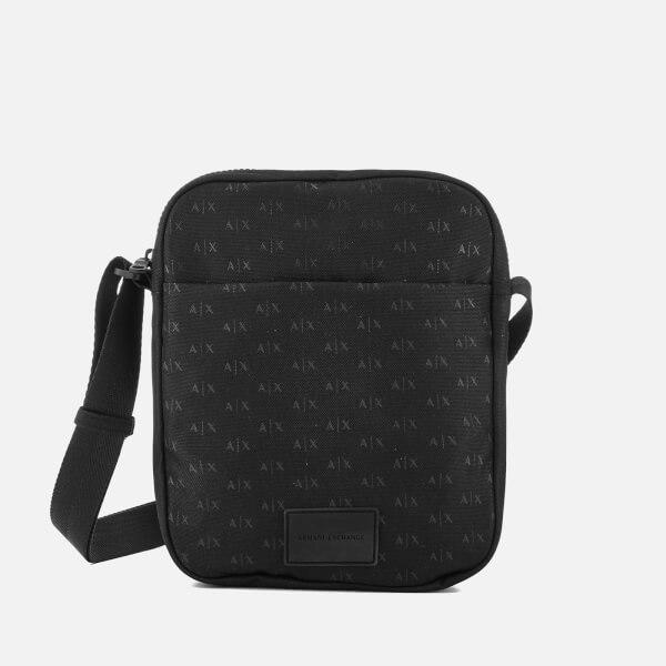 Armani Exchange Men's AX All Over Logo Cross Body Bag - Black