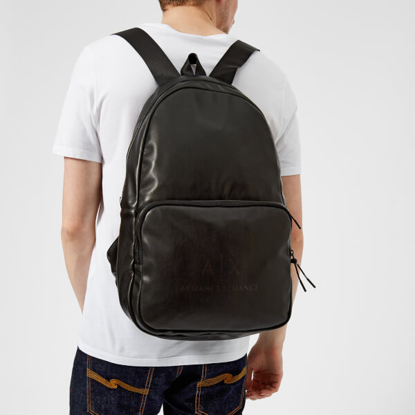 Armani Exchange Men s Eco-Nappa Backpack - Black Gun Metal Mens ... 805f2dc6e4