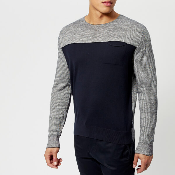 armani exchange men's knitted pullover - navy/white - xxl - navy