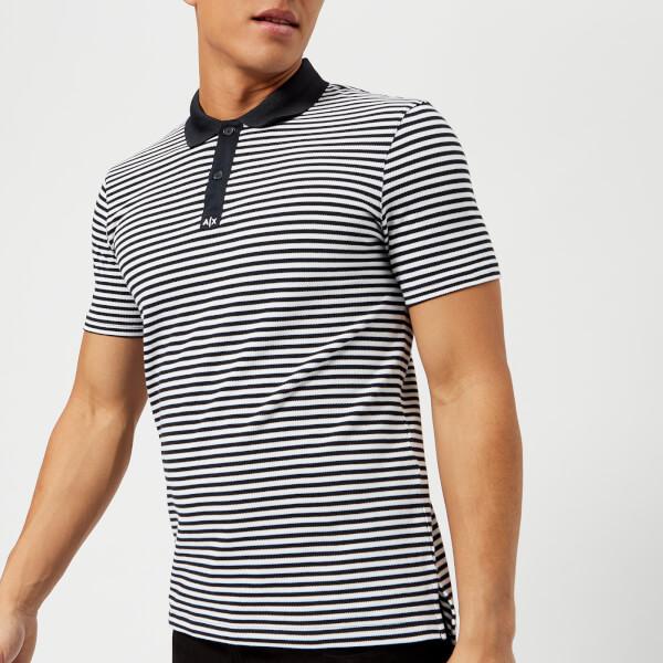 armani exchange men's stripe polo shirt - stripe navy - l - multi