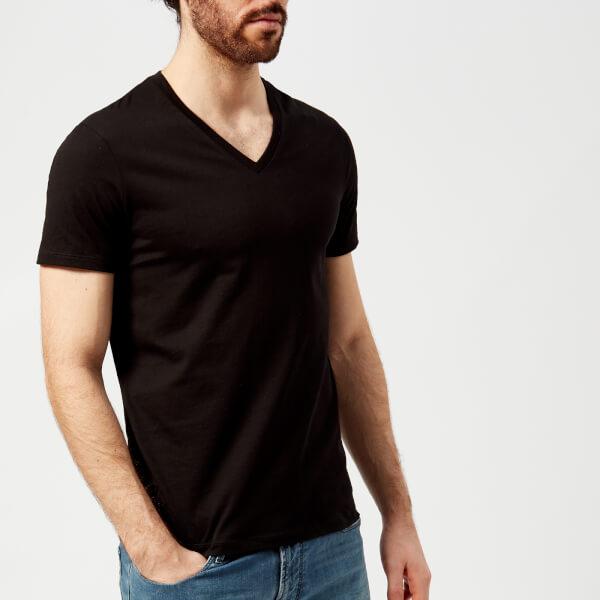 armani exchange men's v-neck t-shirt - black - xxl - black