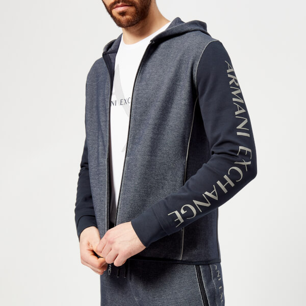 armani exchange men's sleeve logo hoody - heather navy - xxl - navy