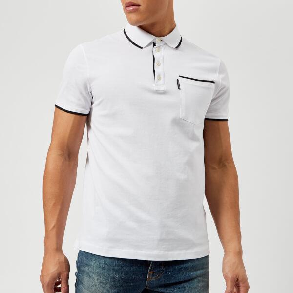 armani exchange men's tipped polo shirt - white - xl - white