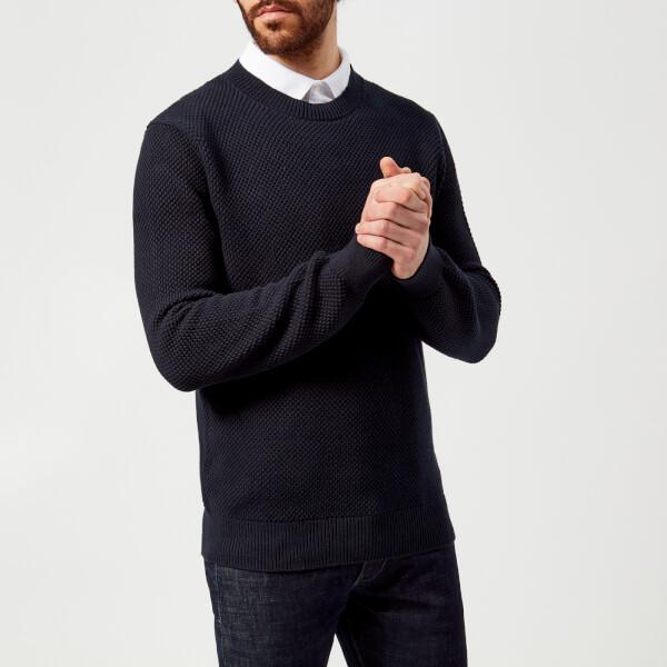 armani exchange men's textured knitted jumper - navy - xl - navy