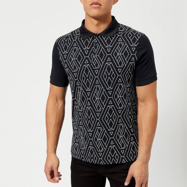 armani exchange men's printed polo shirt - navy geometric - xxl - navy