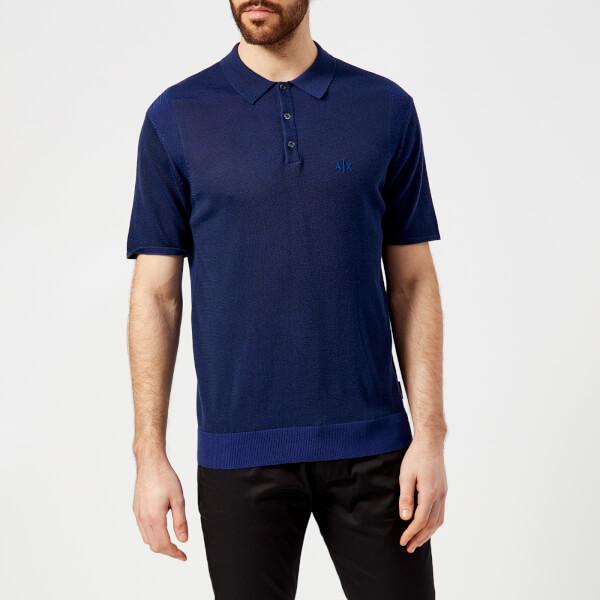 armani exchange men's knitted polo shirt - navy/ultramarine - xxl - navy