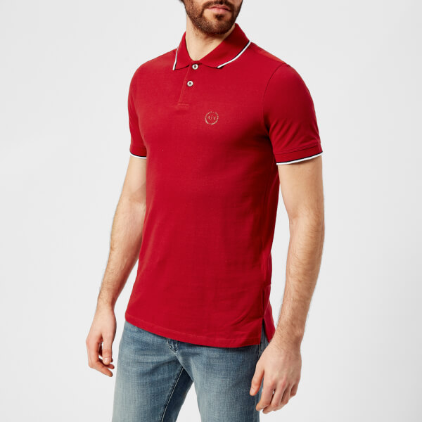 armani exchange men's tipped polo shirt - chili pepper - l - red