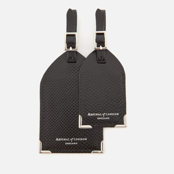 Aspinal of London Set of 2 Luggage Tags - Jet Black Lizard
