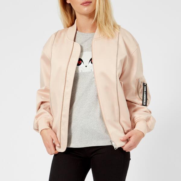 Karl Lagerfeld Women's Satin And Mesh Bomber Jacket - Pink - It 42/Uk 10 - Pink