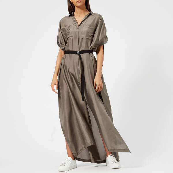 Karl Lagerfeld Women's Maxi Shirt Dress - Khaki - S/M - Green