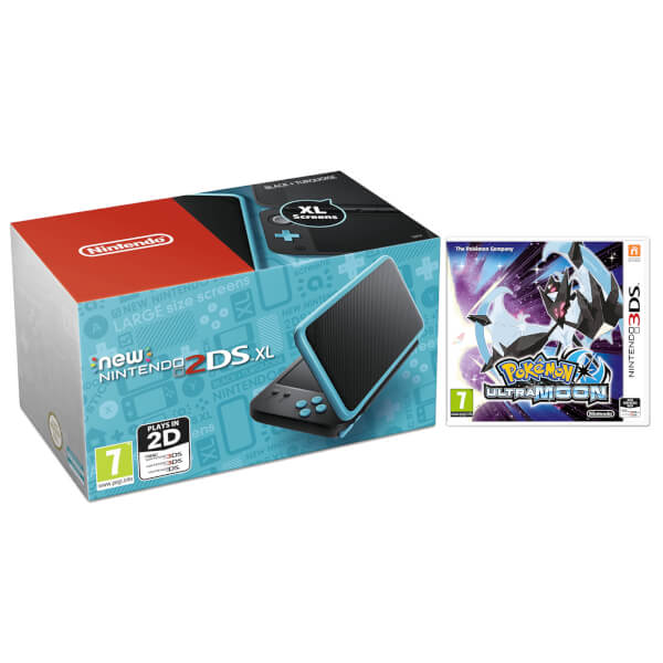 New nintendo 2ds xl black turquoise with pokemon ultra for Housse 2ds xl pokemon