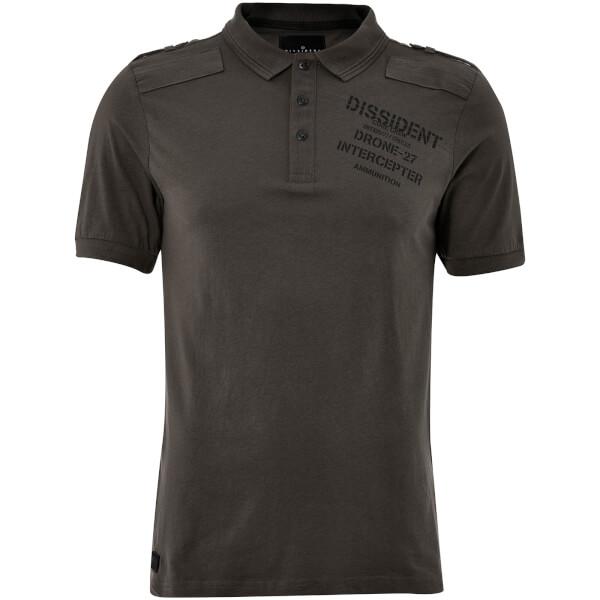 Dissident Men's Mazo Shoulder Panel Polo Shirt - Raven Grey