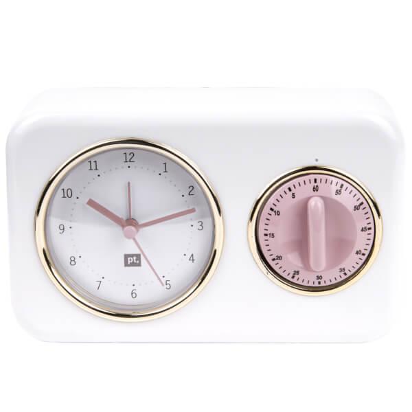 Nostalgia Clock with Kitchen Timer - White