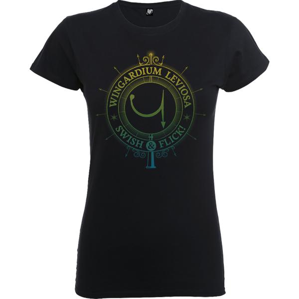 Harry Potter Wingardium Leviosa Swish And Flick Women's Black T-Shirt