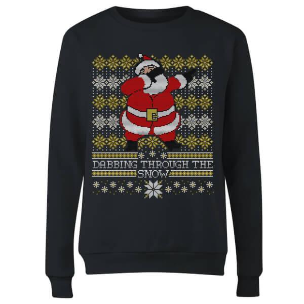 Dabbing through the snow Fair Isle Women's Sweatshirt - Black