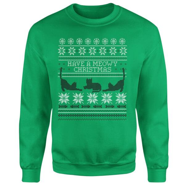Meowy Christmas Sweatshirt - Kelly Green