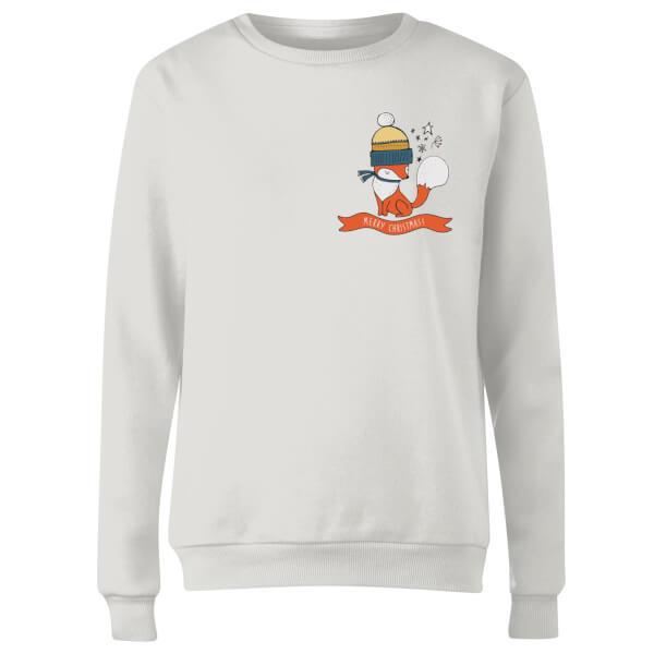 Christmas Fox Pocket Women's Sweatshirt - White