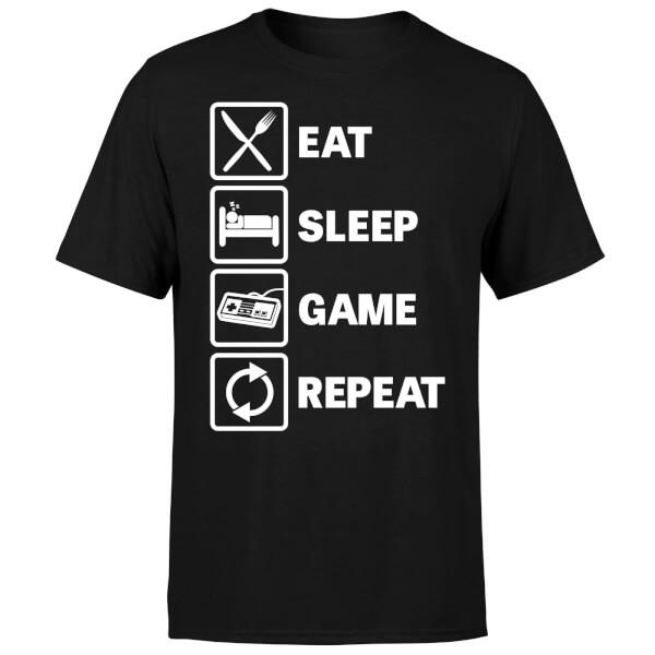 Eat Sleep Game Repeat T-Shirt - Black