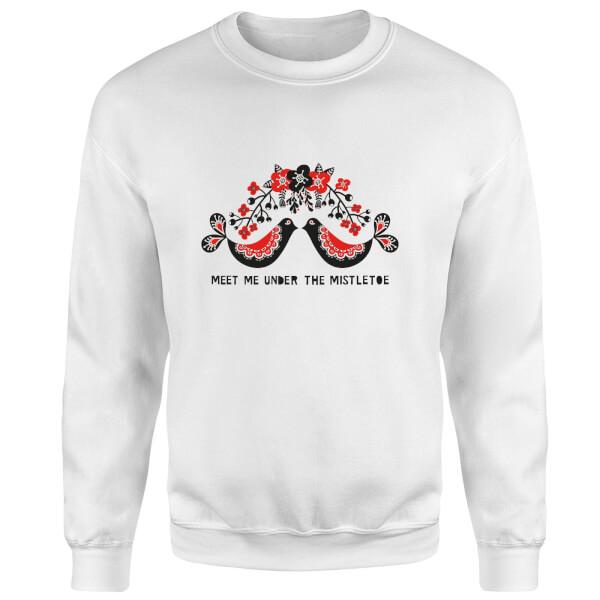 Meet Me Underneath The Mistletoe Sweatshirt - White