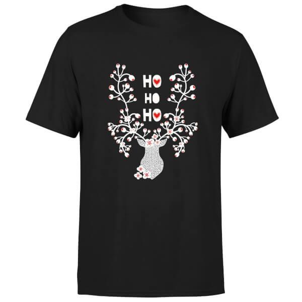 Ho Ho Ho Reindeer T-Shirt - Black