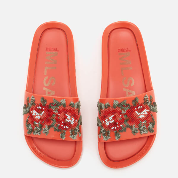 Melissa Women's Flower Pixel Beach Slide Sandals - Coral