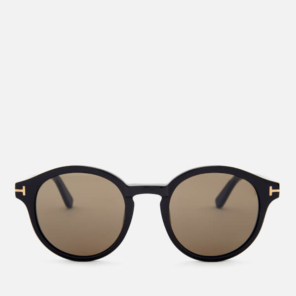 Tom Ford Men's Lucho Round Frame Sunglasses - Shiny Black/Brown