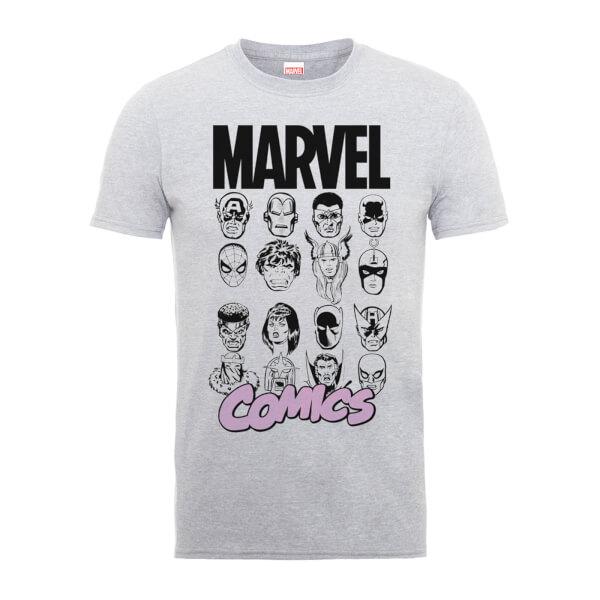 Marvel Comics Multi-Faces Men's Grey T-Shirt