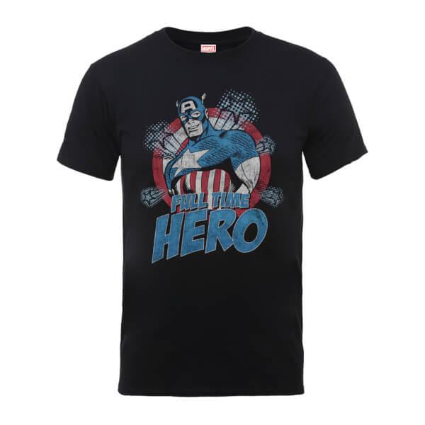 Marvel Comics Captain Amercia Full Time Hero Men's Black T-Shirt