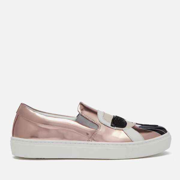 Karl Lagerfeld Women's Kupsole Leather Karl Ikonic Slip-On Trainers - Rose Gold Mirror
