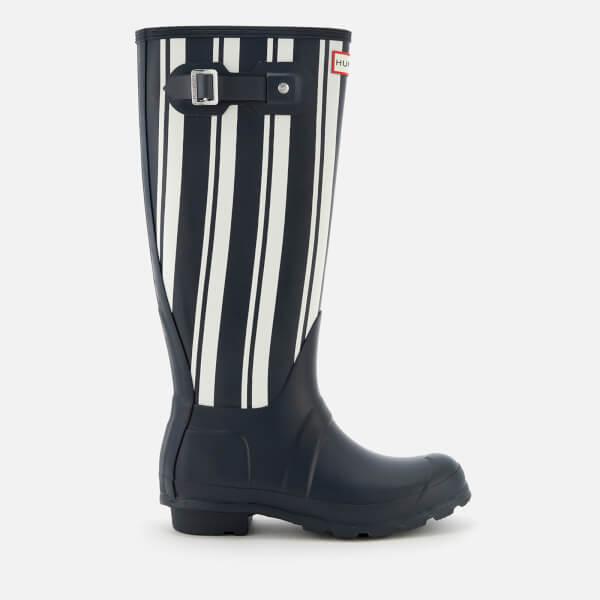 Hunter Women's Original Garden Stripe Tall Wellies - Navy/White