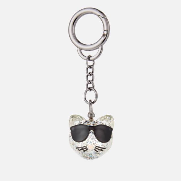 Karl Lagerfeld Women's Choupette Glitter Keychain - Silver