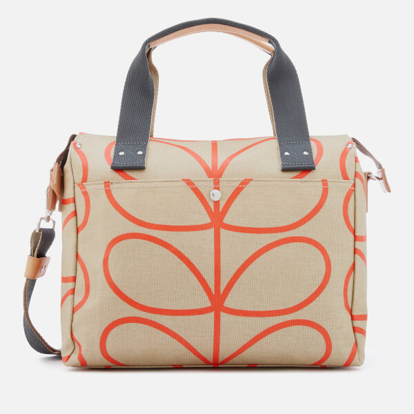 1c8f56b64aa Orla Kiely Women s Matt Laminated Giant Linear Stem Zip Messenger Bag -  Stone  Image 1