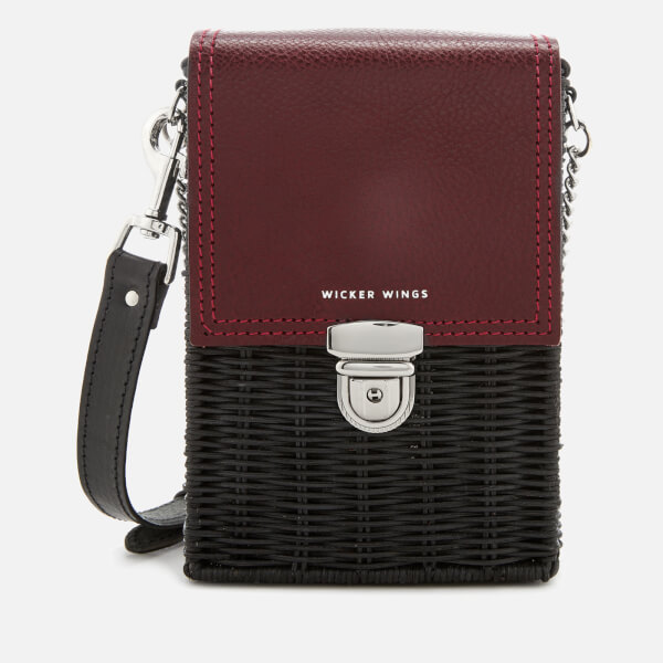 Wicker Wings Women's Buckled Shu Wicker Bag - Burgundy/Black