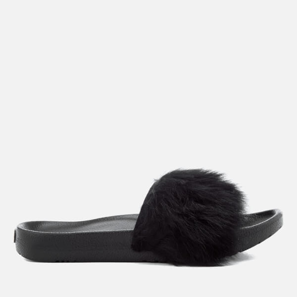 UGG Women's Royale Fluffy Slide Sandals - Black