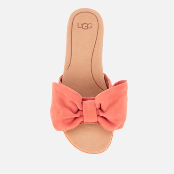 b6b40d99051 UGG Women s Joan Suede Bow Flatform Slide Sandals - Vibrant Coral  Image 3