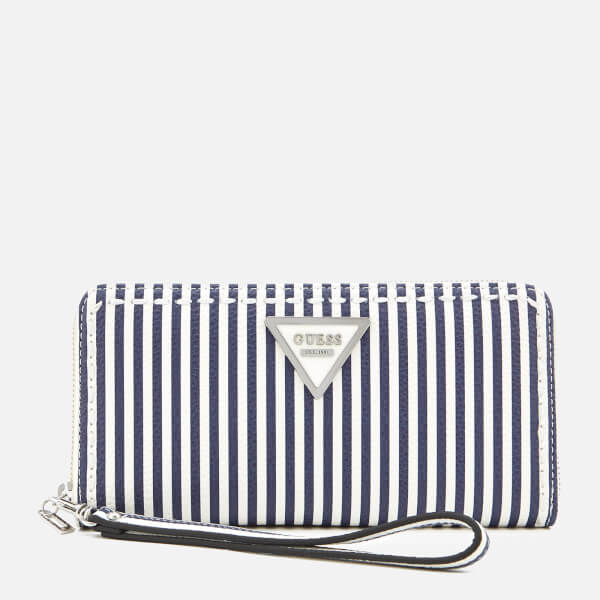 Guess Women's Sawyer Large Zip Around Purse - Blue Stripe