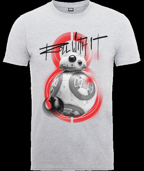 Star Wars The Last Jedi BB8 Roll With IT Grey T-Shirt