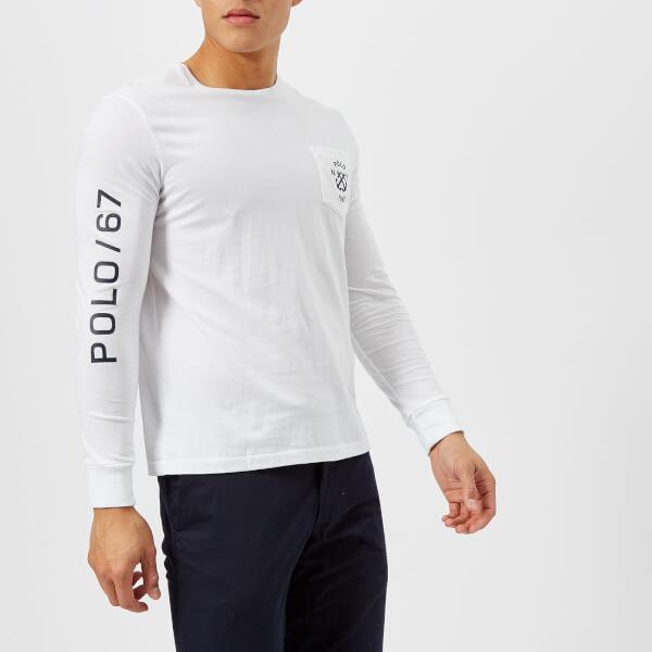 Polo Ralph Lauren Men s Crew Neck Sleeve Logo Long Sleeve T-Shirt - White  c87503458942