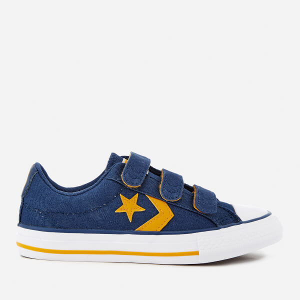 Converse Kids' Star Player Ev 3V Ox Trainers - Navy/Mineral Yellow/White