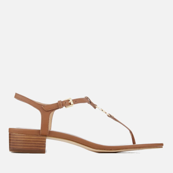 20719405e18 MICHAEL MICHAEL KORS Women s Cayla Mid Leather Toe Post Sandals - Luggage   Image 1