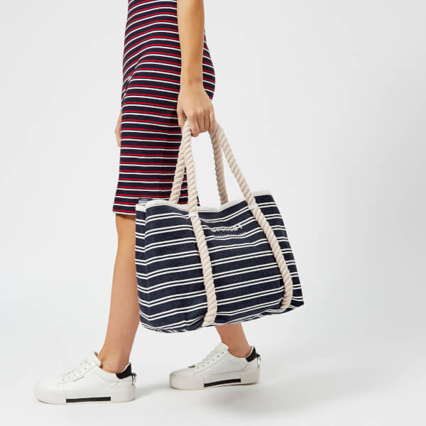 3ad54d5d8740 Superdry Women s Bayshore Stripe Beach Tote Bag - Navy White Womens ...