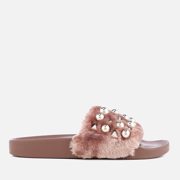 Steve Madden Women's Yeah Faux Fur Slide Sandals - Mauve