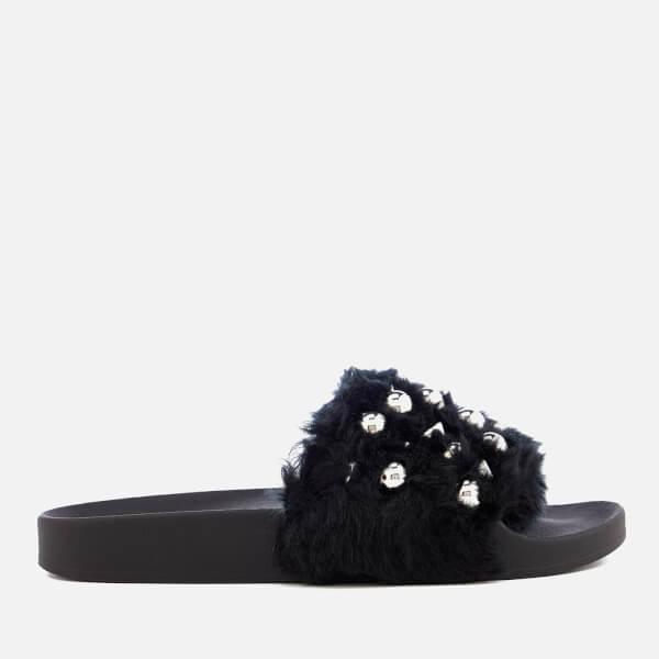 Steve Madden Women's Yeah Faux Fur Slide Sandals - Black