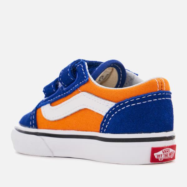 bbef919ab0 Vans Toddlers  Pop Velcro Old Skool Trainers - Og Blue Og Gold  Image
