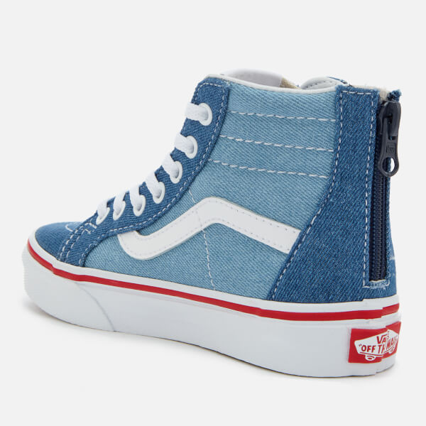 554fad65cc Vans Kids  2 Tone Denim Sk8-Hi Zip Trainers - Blue True White