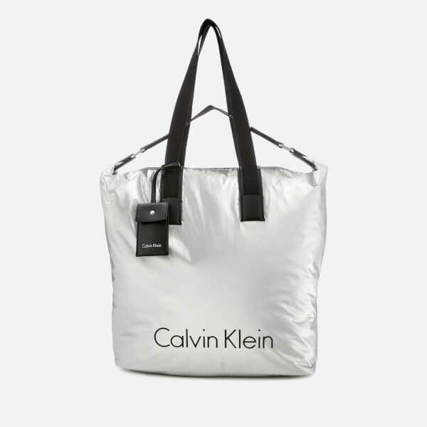 Calvin Klein Women's City Nylon Shopper Bag - Light Silver