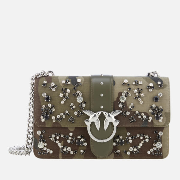 Pinko Women's Love Camouflage Strass Cross Body Bag - Green